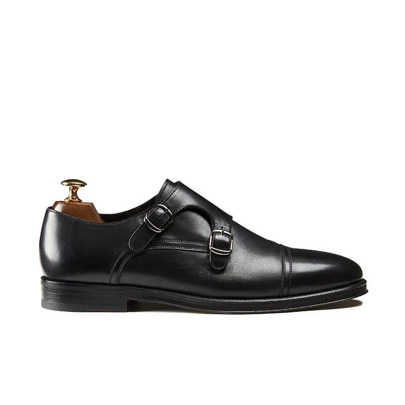 Scarpe Doppia Fibbia nere in pelle di vitello, realizzate a mano in Italia, eleganti da uomo by Fragiacomo