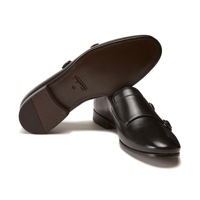 Scarpe Doppia fibbia nere spazzolate a mano in pelle, modello da uomo by Fragiacomo, vista dal basso