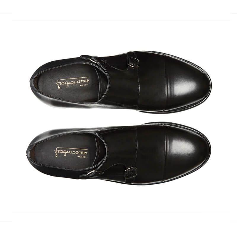 Scarpe Doppia fibbia nere fatte a manio in pelle e cucitura Goodyear, modello da uomo by Fragiacomo