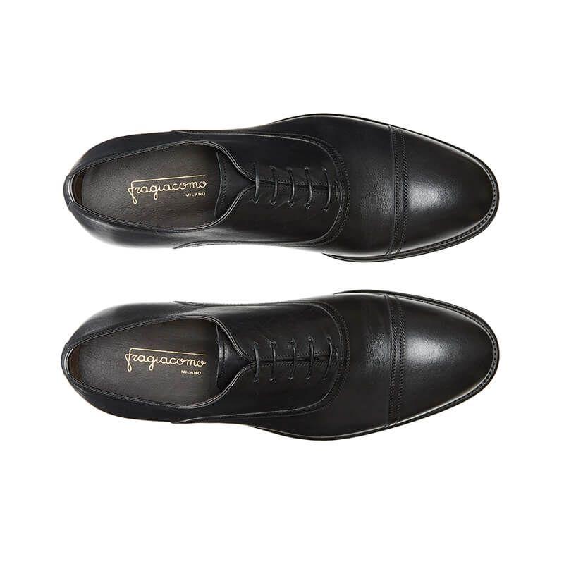 Scarpe Francesine nere in pelle di vitello con lacci, realizzate a mano in Italia, eleganti da uomo by Fragiacomo