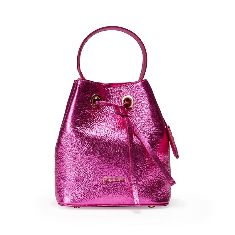 Fuchsia laminated leather bucket bag with Fragiacomo logo