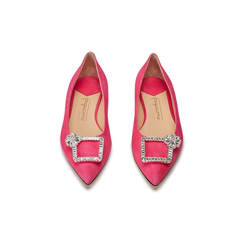 Fuchsia suede ballerinas with crystal buckle hand made in Italy, women's model by Fragiacomo