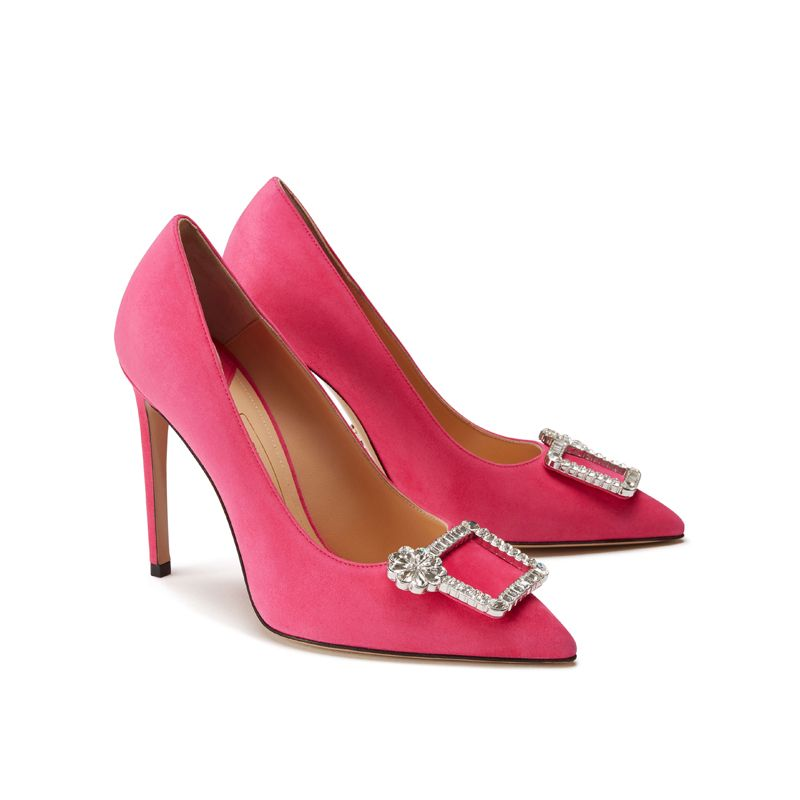 Fuchsia suede pumps with crystal buckle hand made in Italy, women's model by Fragiacomo