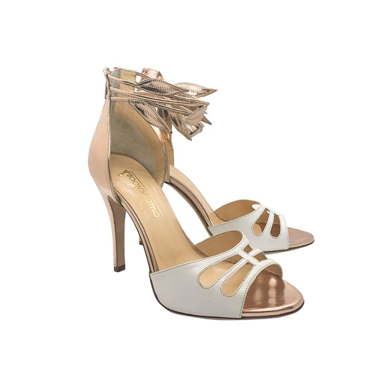 Gold and white leather high heel sandals hand made in Italy, women's model by Fragiacomo
