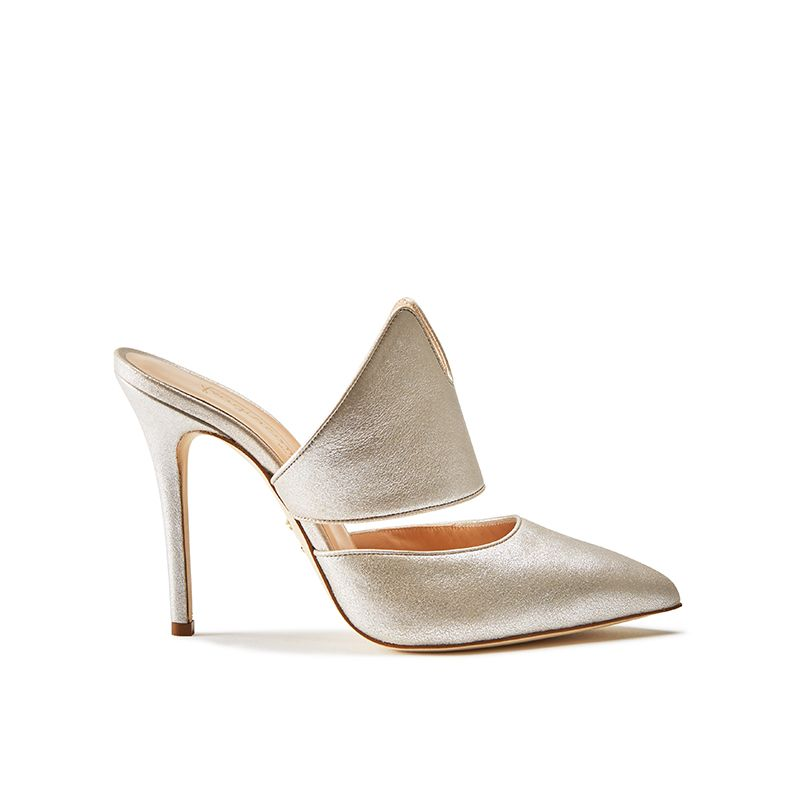 Gold burma leather mules, elegant, women's by Fragiacomo