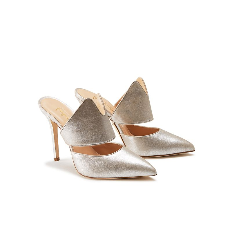 Gold burma leather mules, elegant, women's by Fragiacomo, side view
