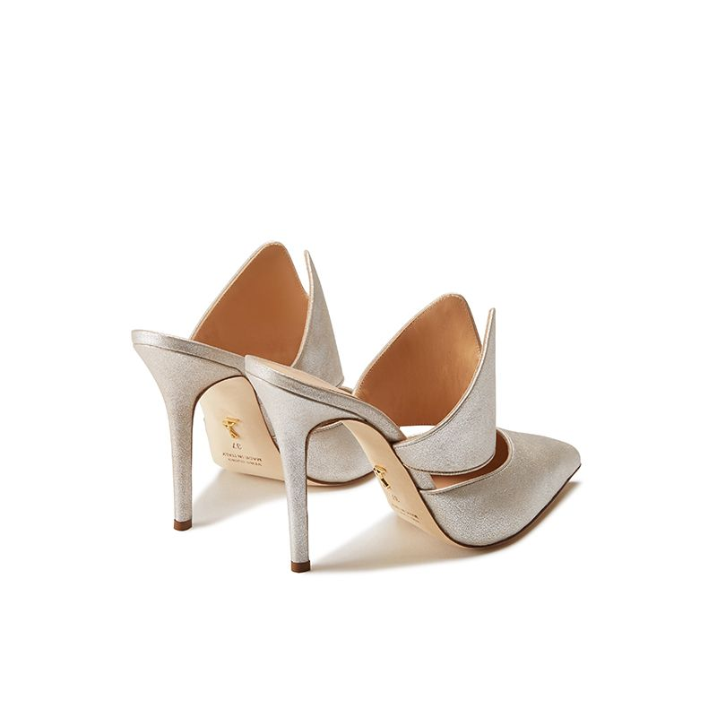 Gold burma leather mules, elegant, women's by Fragiacomo, back view
