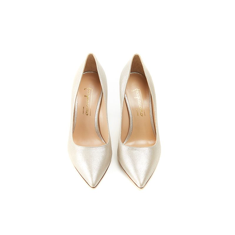 Iconic pumps is gold burma leather with 85mm stiletto heel