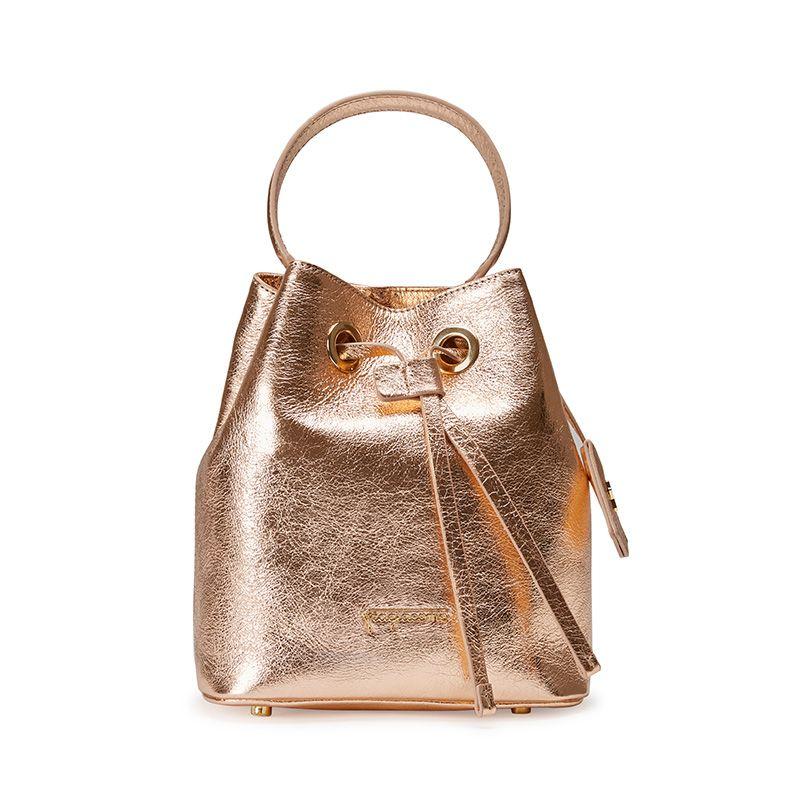 Gold laminated leather bucket bag with Fragiacomo logo