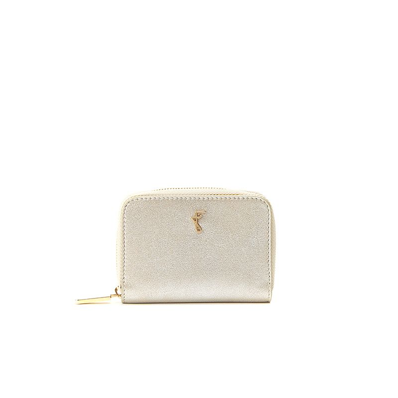Small gold burma leather woman's wallet  with gold accessories