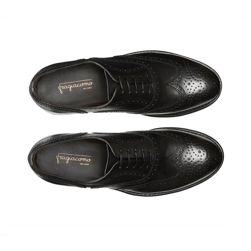Black calfskin brogues with handmade Goodyear construction, men's model by Fragiacomo