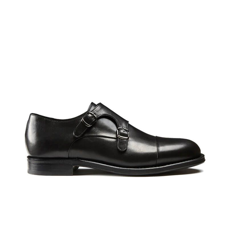 Handmade black leather monk-strap shoes with Goodyear construction, men's model by Fragiacomo