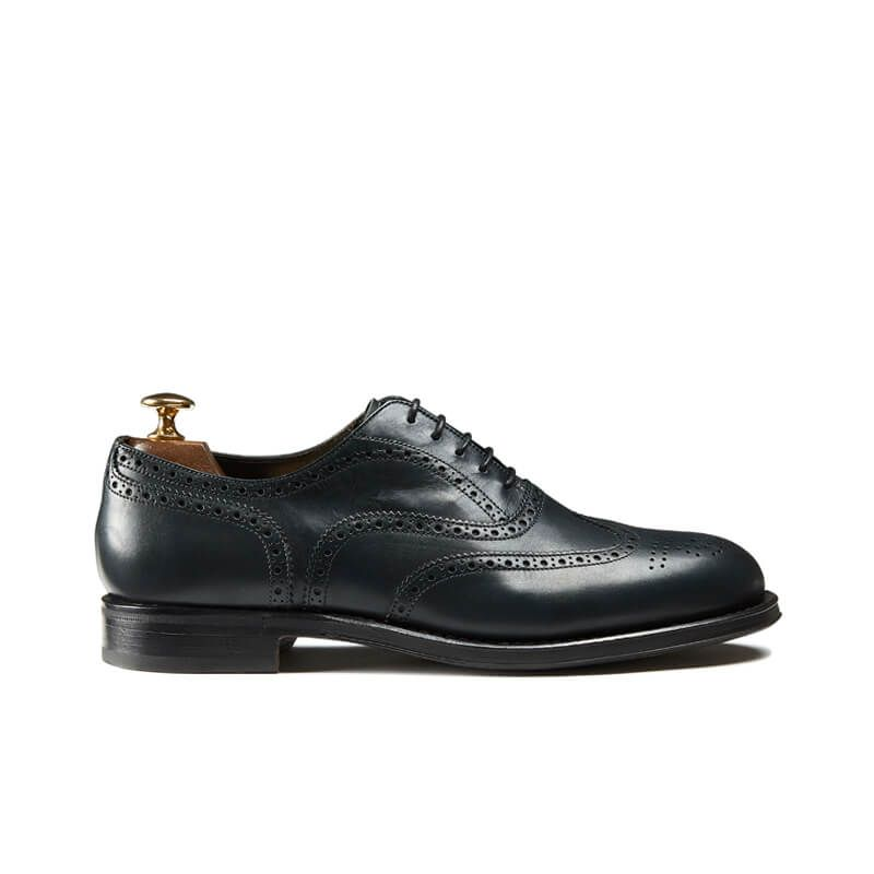 Blue calfskin brogues with handmade Goodyear construction, men's model by Fragiacomo