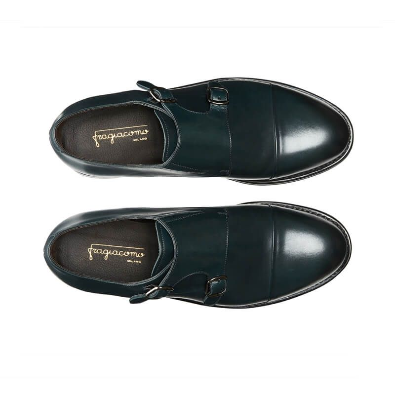 Handmade blue leather monk-strap shoes with Goodyear construction, men's model by Fragiacomo