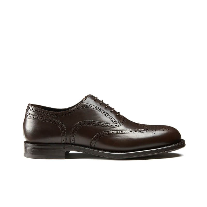 Dark brown calfskin brogues with handmade Goodyear construction, men's model by Fragiacomo