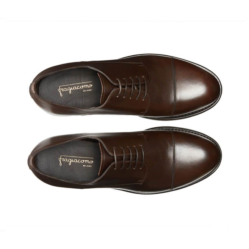 Dark brown calfskin Derby shoes with handmade Goodyear construction, men's model by Fragiacomo