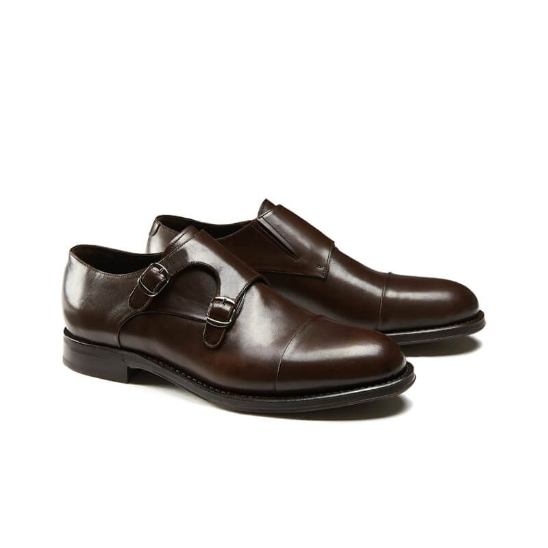 Handmade dark brown leather monk-strap shoes with Goodyear construction, men's model by Fragiacomo