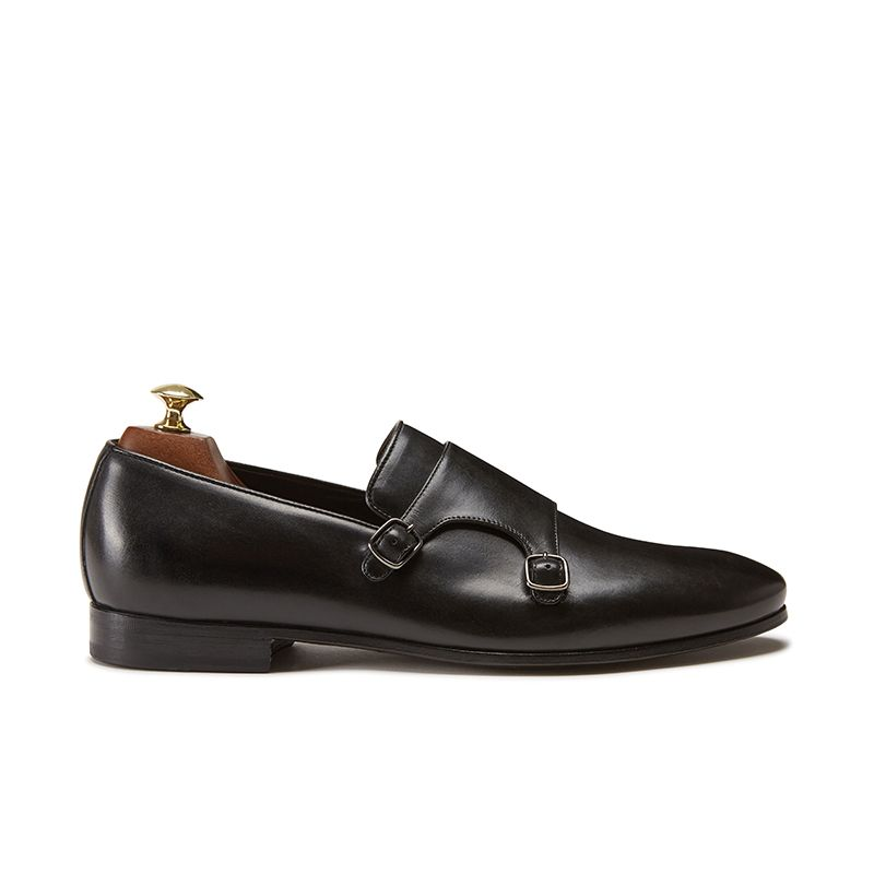 Hand brushed black leather monk-strap shoes, men's model by Fragiacomo