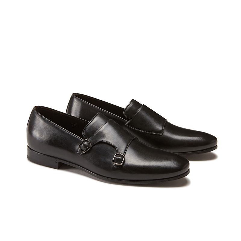 Hand brushed black leather monk-strap shoes, men's model by Fragiacomo , side view
