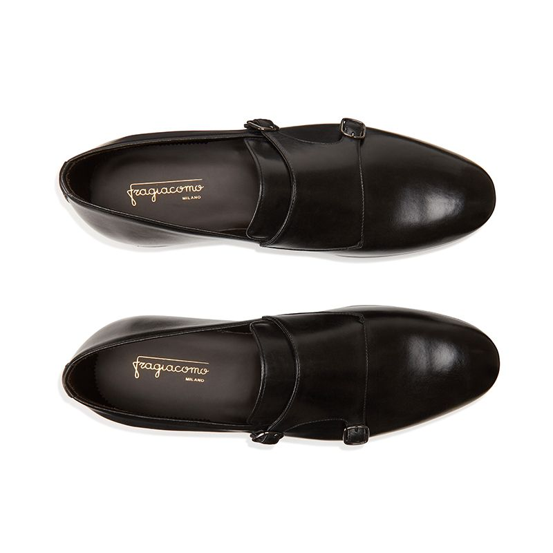 Hand brushed black leather monk-strap shoes, men's model by Fragiacomo , over view