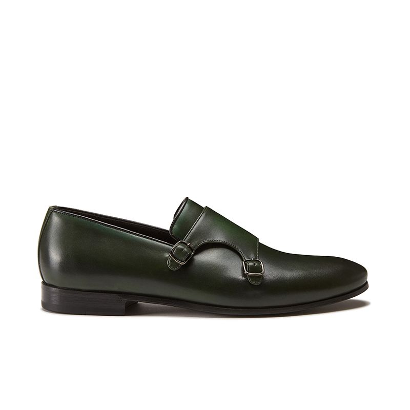 Hand brushed dark green leather monk-strap shoes, men's model by Fragiacomo