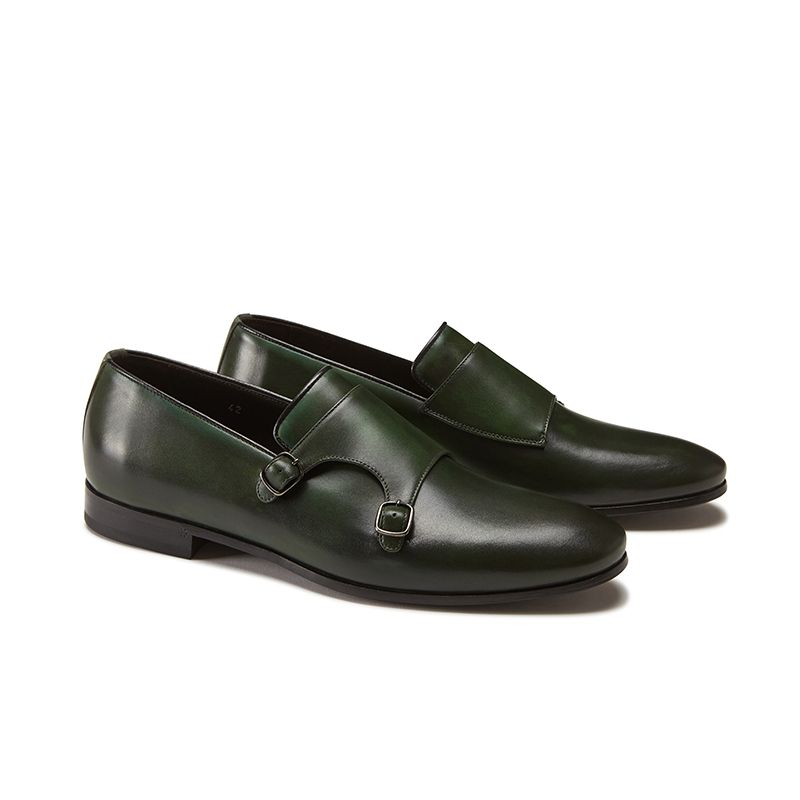 Hand brushed dark green leather monk-strap shoes, men's model by Fragiacomo, side view