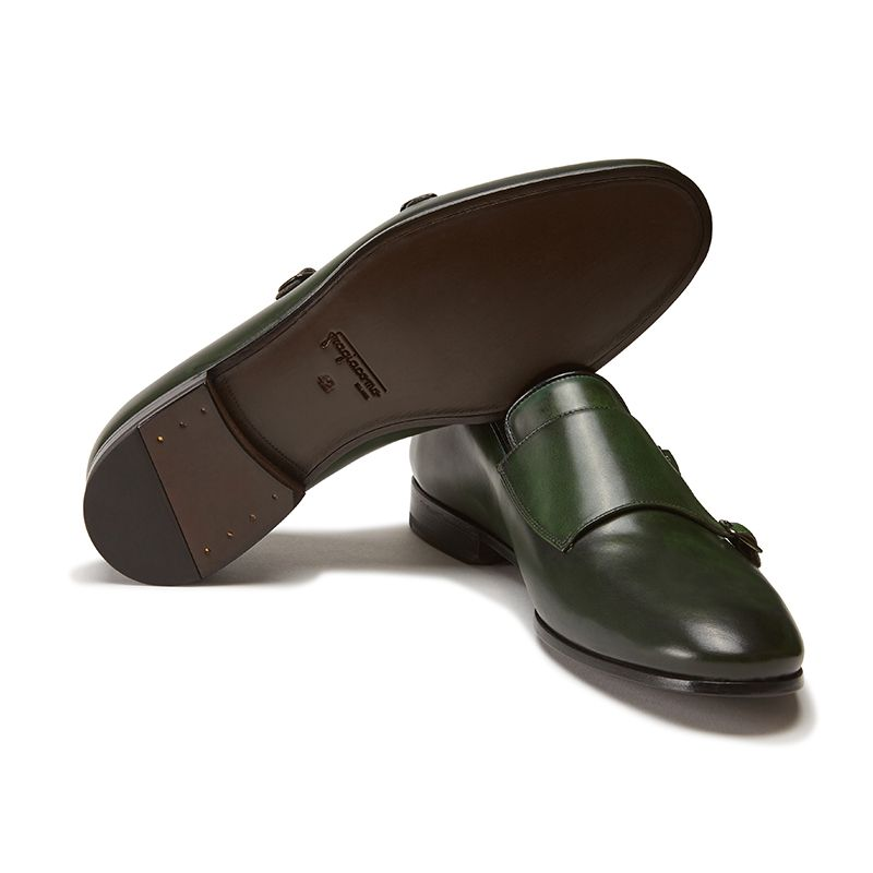 Hand brushed dark green leather monk-strap shoes, men's model by Fragiacomo, bottom view