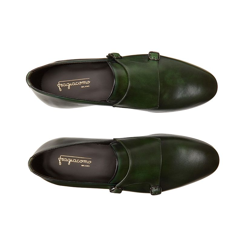 Hand brushed dark green leather monk-strap shoes, men's model by Fragiacomo, over view