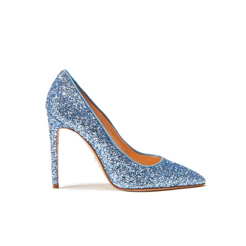 Light blue pumps in glitter, elegant women's, by Fragiacomo