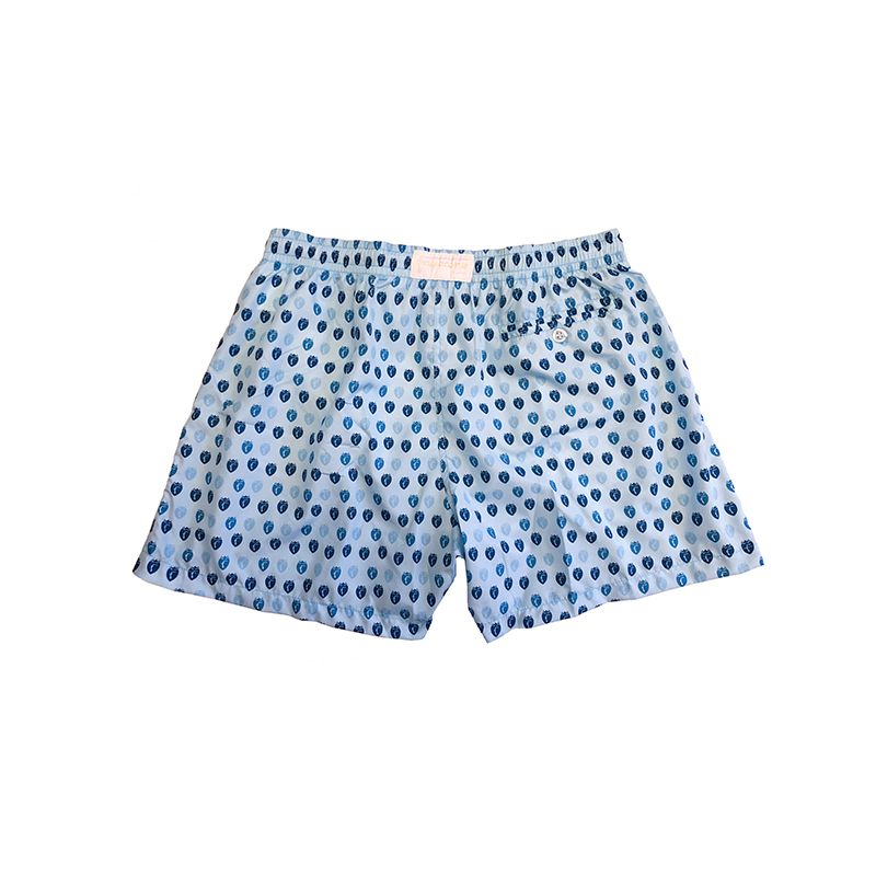 Light blue men's swim shorts in light fabric with Fragiacomo shields pattern made in Italy by Fragiacomo
