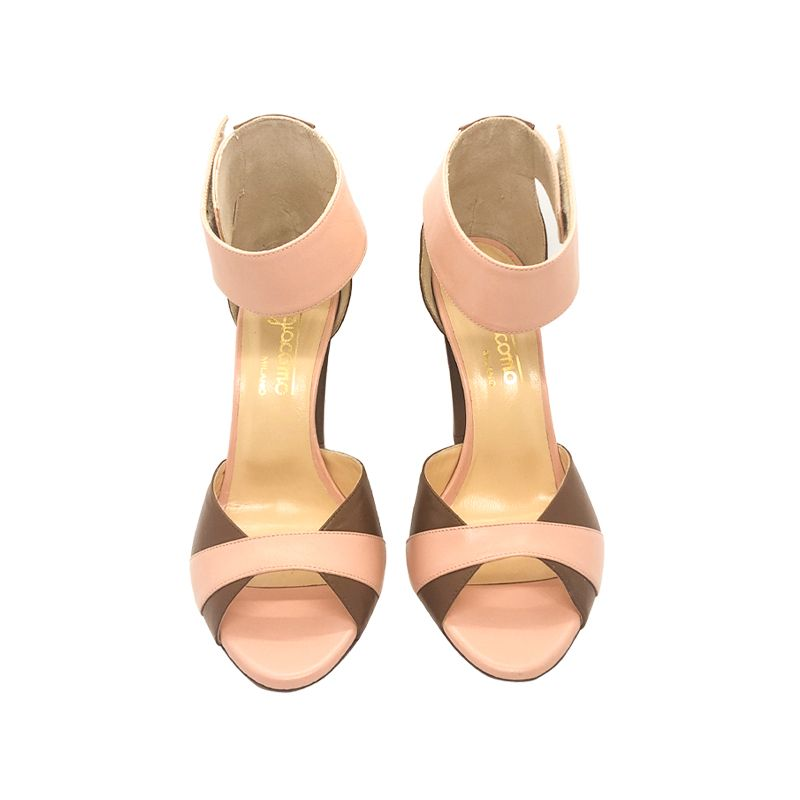 Light brown and pink leather high heel sandals hand made in Italy, women's model by Fragiacomo