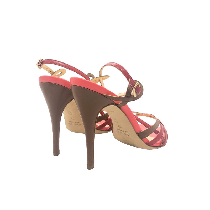 Light brown and red leather high heel sandals hand made in Italy, women's model by Fragiacomo