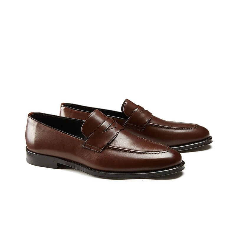 Light brown calfskin penny loafers, hand made in Italy, elegant men's by Fragiacomo