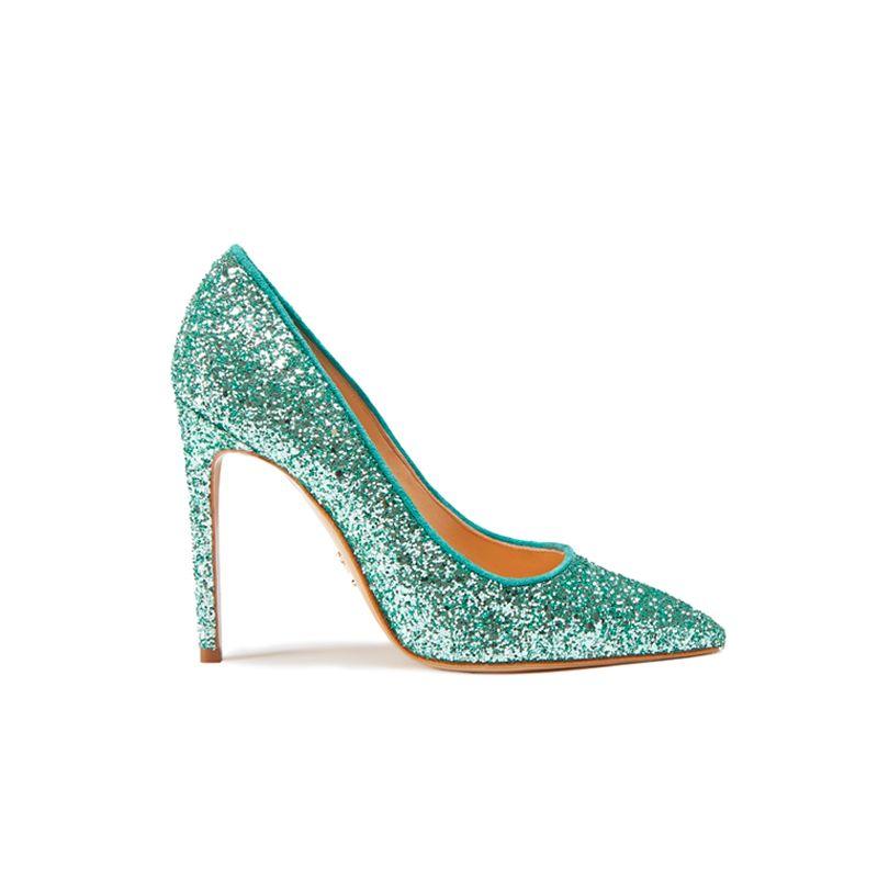 Light green pumps in glitter, elegant women's, by Fragiacomo