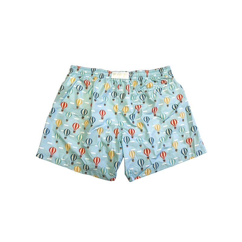 Mint green men's swim shorts in light fabric with balloon pattern made in Italy by Fragiacomo