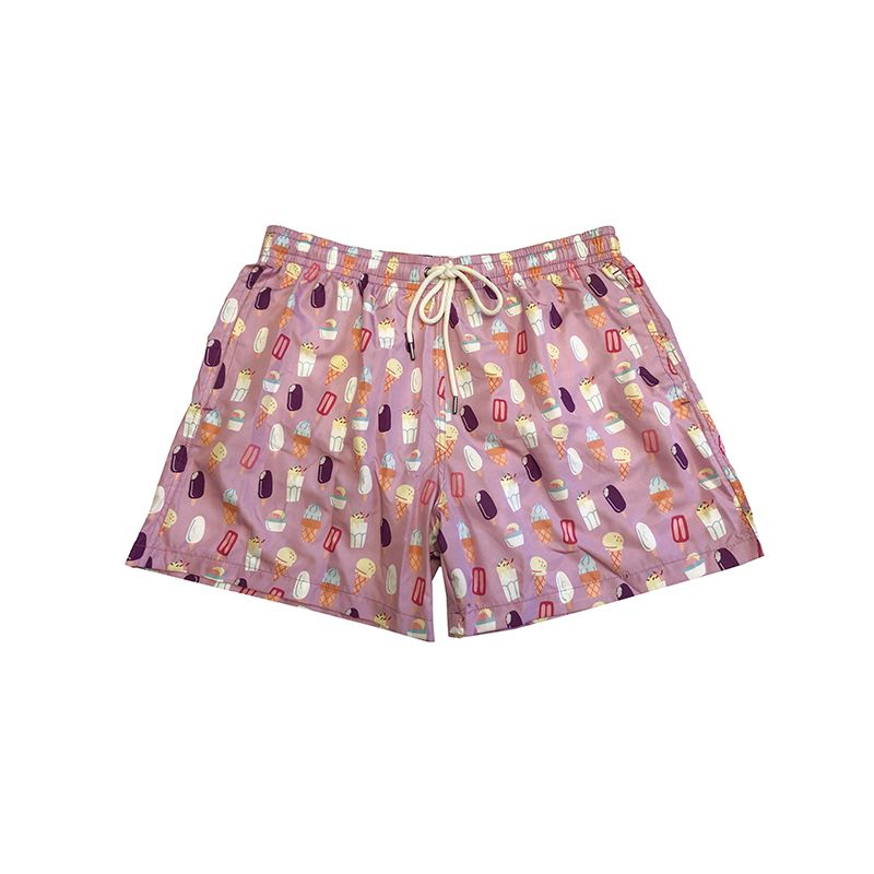 Light pink men's swim shorts in light fabric with ice cream pattern made in Italy by Fragiacomo