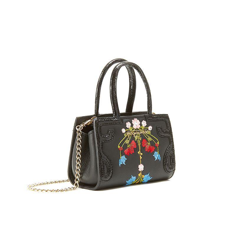 Borsa a tracolla nera in pelle nappa con ricamo floreale multicolor a ghirlanda, modello Micro Icon da donna by Fragiacomo