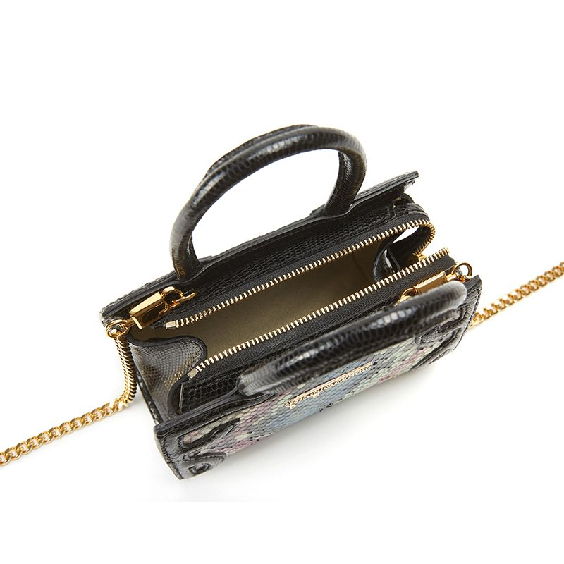 Borsa a tracolla in pitone colorato con schizzi in vernice nera, modello Micro Icon da donna by Fragiacomo