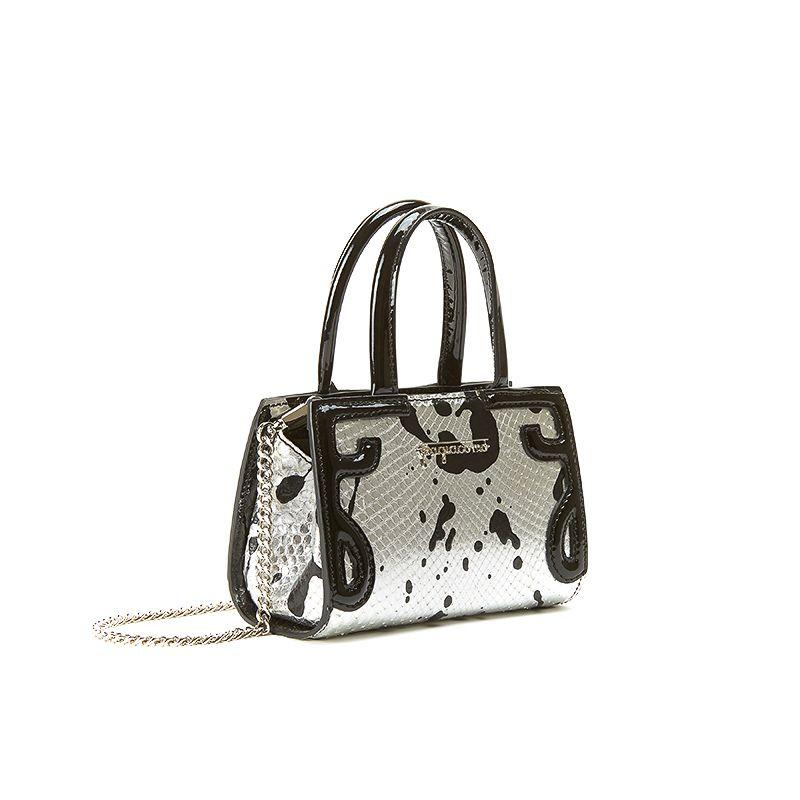 Borsa a tracolla argento in pelle di pitone con schizzi in vernice nera, modello Micro Icon da donna by Fragiacomo
