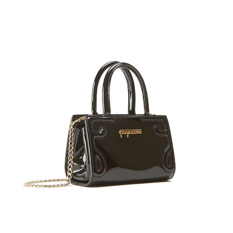 Borsa a tracolla in vernice nera modello Micro Icon da donna by Fragiacomo