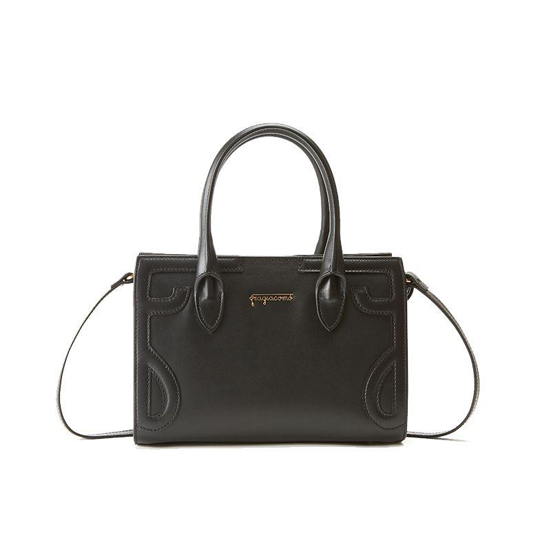 Borsa a spalla nera in pelle nappa modello Mini Icon da donna by Fragiacomo