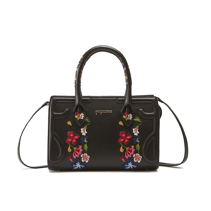 Black leather shoulder bag model Mini Icon with floral embroidery women's by Fragiacomo