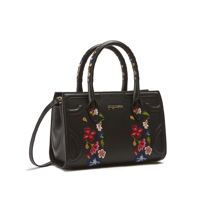 Black leather shoulder bag model Mini Icon with floral embroidery women's by Fragiacomo, side view