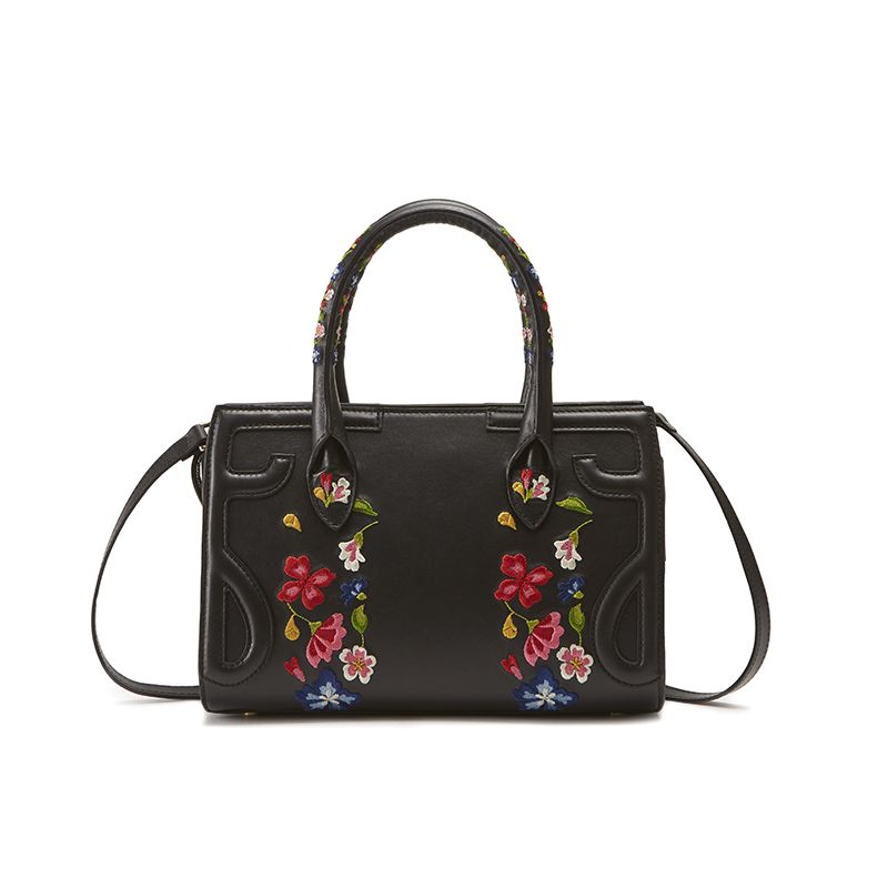 Black leather shoulder bag model Mini Icon with floral embroidery women's by Fragiacomo, back view