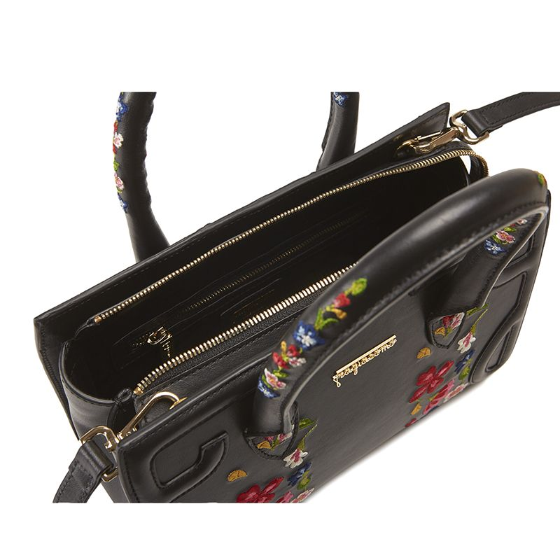 Black leather shoulder bag model Mini Icon with floral embroidery women's by Fragiacomo, over view