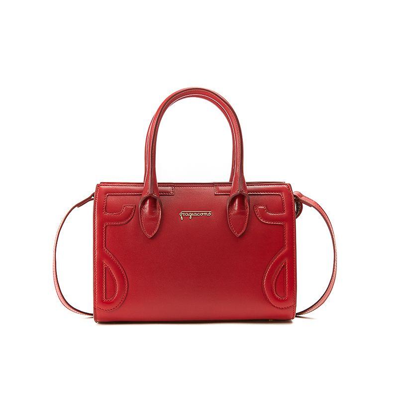 Borsa a spalla rossa in pelle nappa modello Mini Icon da donna by Fragiacomo