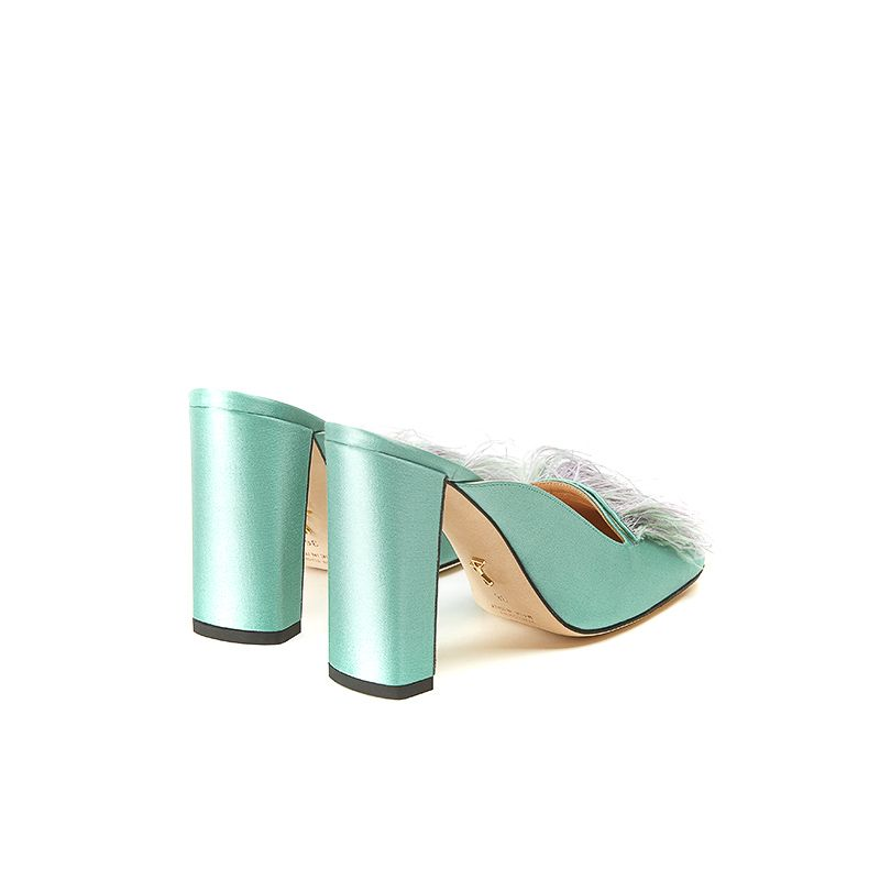 Mint satin mules with feathers on the front part and chunky 100 mm heel