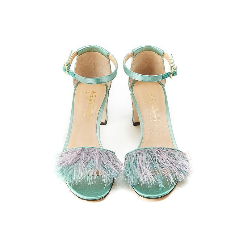 Mint satin sandals with feathers on the front part, ankle strap and 50 mm heel