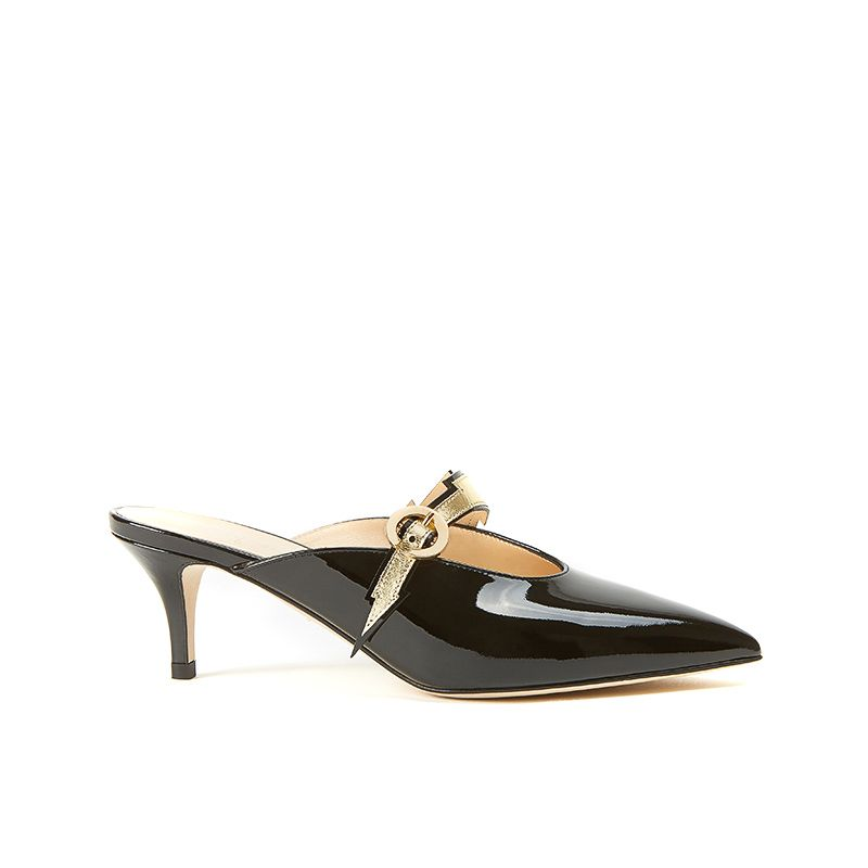 Mules in black patent leather with flash shape detail in gold leather and 55mm heel