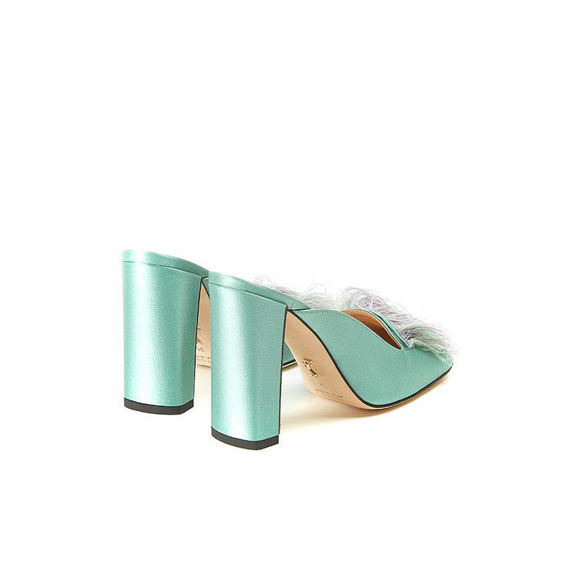 Mules in raso verde menta con piume e tacco alto quadrato 10 cm, da donna by Fragiacomo